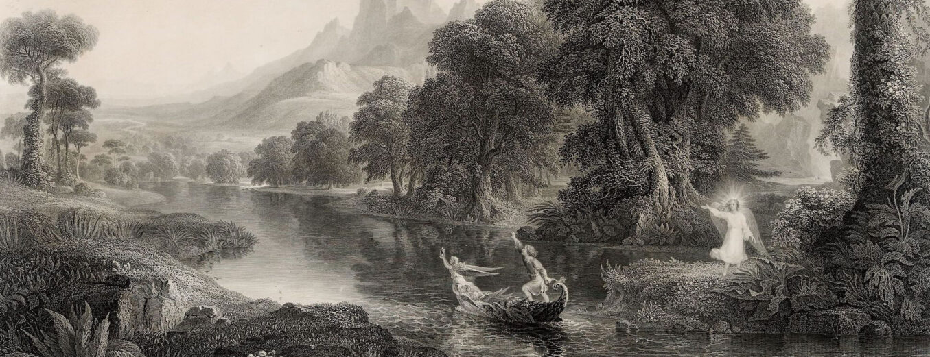 Painting of a character in a boat on a flowing river guided by an angelic figure to the right amongst trees.