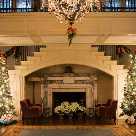 A marble fireplace in the center flanked by two staircases and decorated christmas trees.
